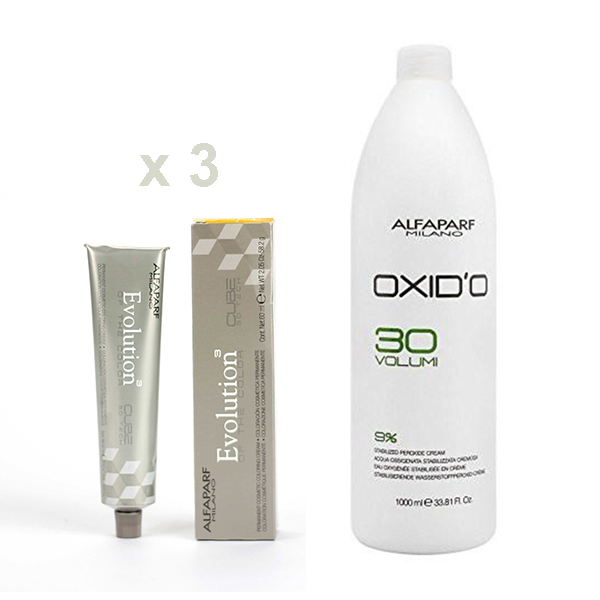 Pack complemento Tintes Alfaparf Evolution Of The Color (3 unidades) + Oxid´o 1000 ml.