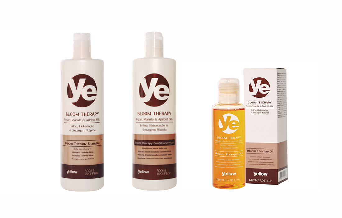 Lote especial Yellow Argan Therapy Limpia y Acondiciona (Ye Bloom Argan Shampoo + Conditioner + Oil)